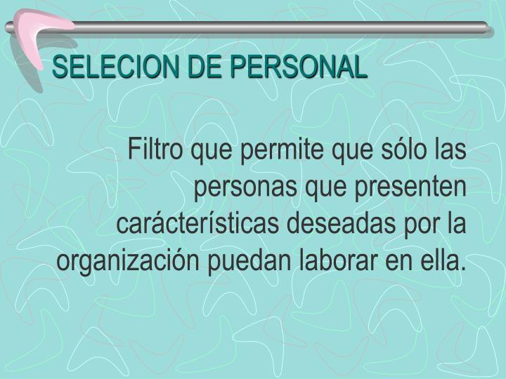 SELECION DE PERSONAL
