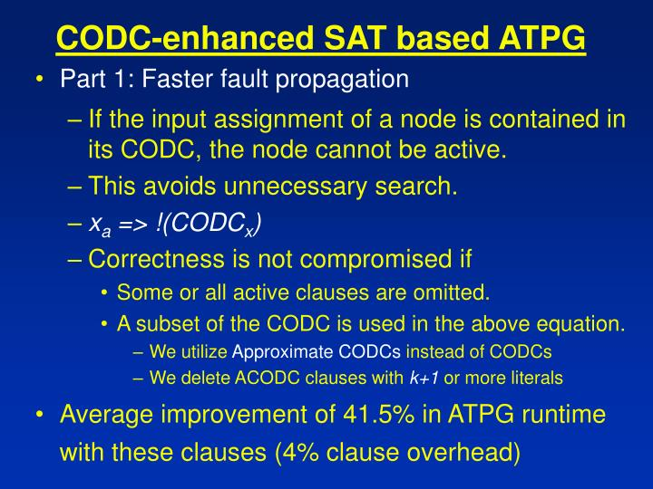 CODC-enhanced SAT based ATPG