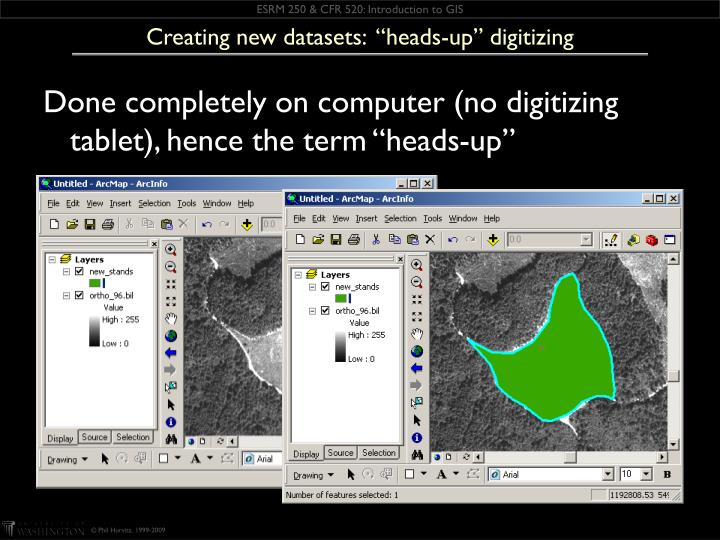 "Creating new datasets:  ""heads-up"" digitizing"