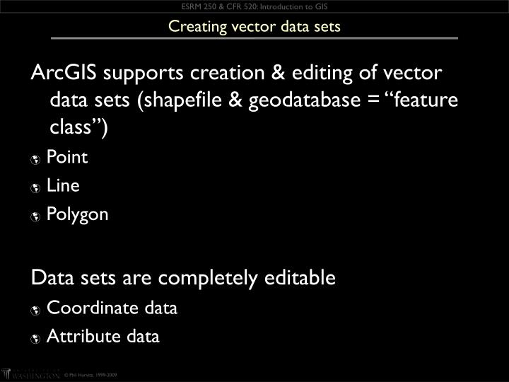 Creating vector data sets
