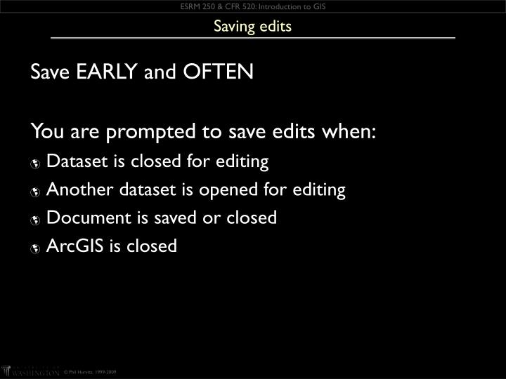 Saving edits