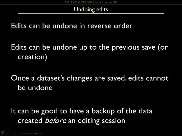 Undoing edits