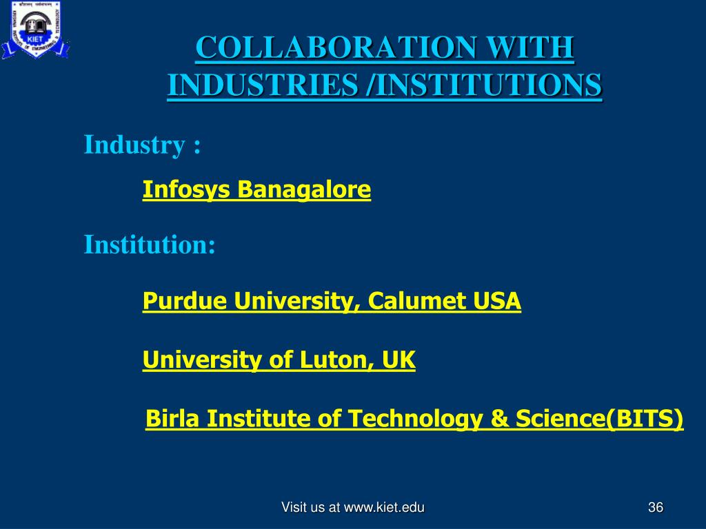 COLLABORATION WITH INDUSTRIES /INSTITUTIONS