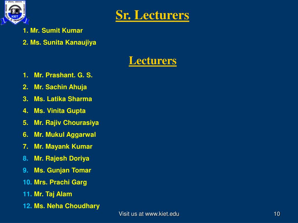 Sr. Lecturers
