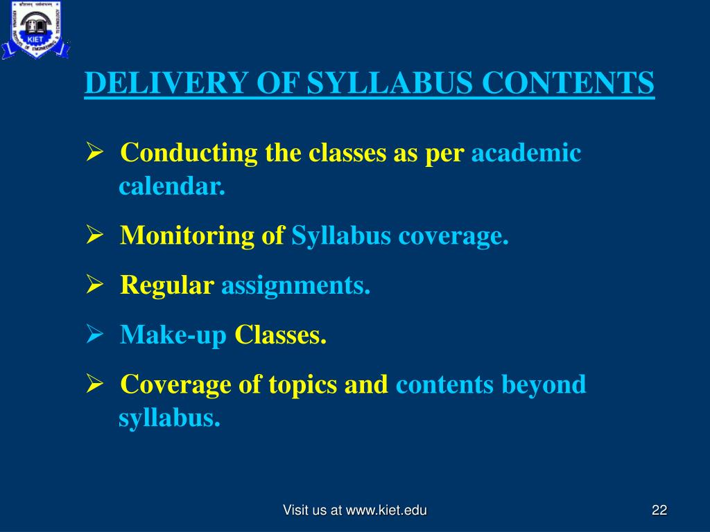 DELIVERY OF SYLLABUS CONTENTS