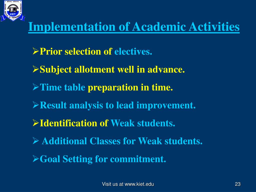 Implementation of Academic Activities