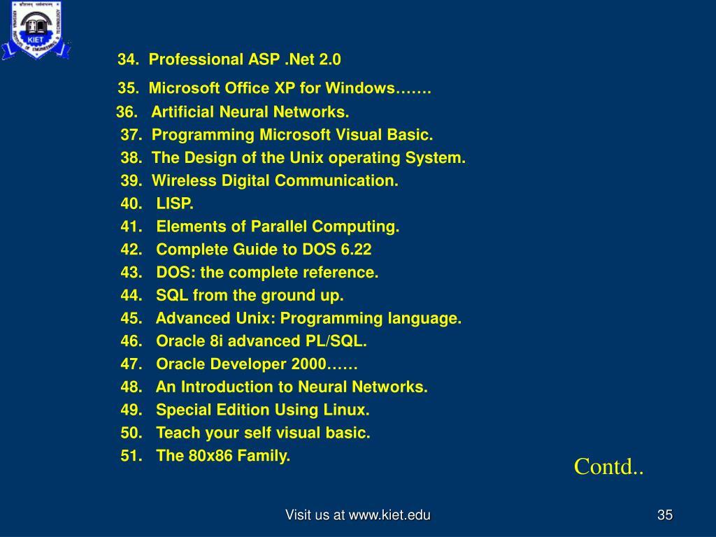 34.  Professional ASP .Net 2.0