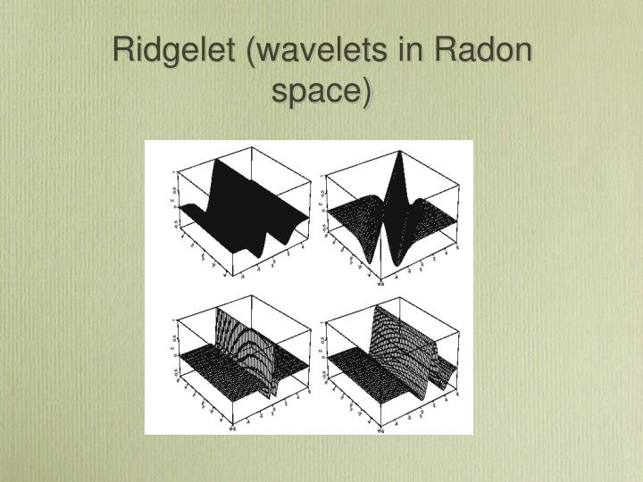 Ridgelet (wavelets in Radon space)