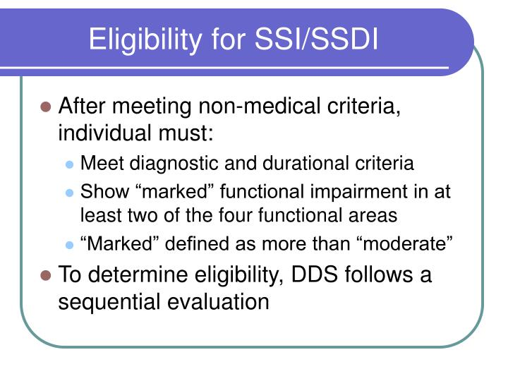 Eligibility for SSI/SSDI