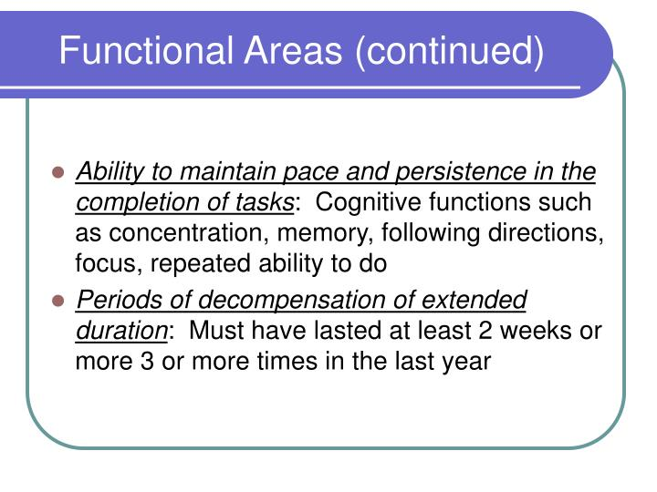 Functional Areas (continued)