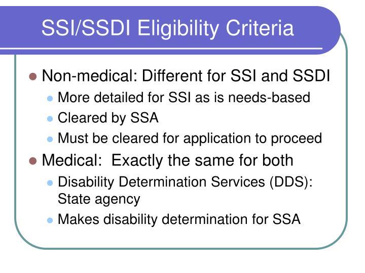 SSI/SSDI Eligibility Criteria