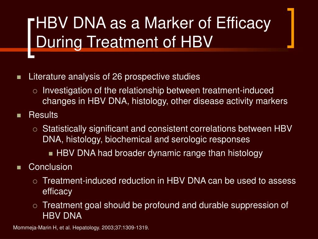 HBV DNA as a Marker of Efficacy During Treatment of HBV