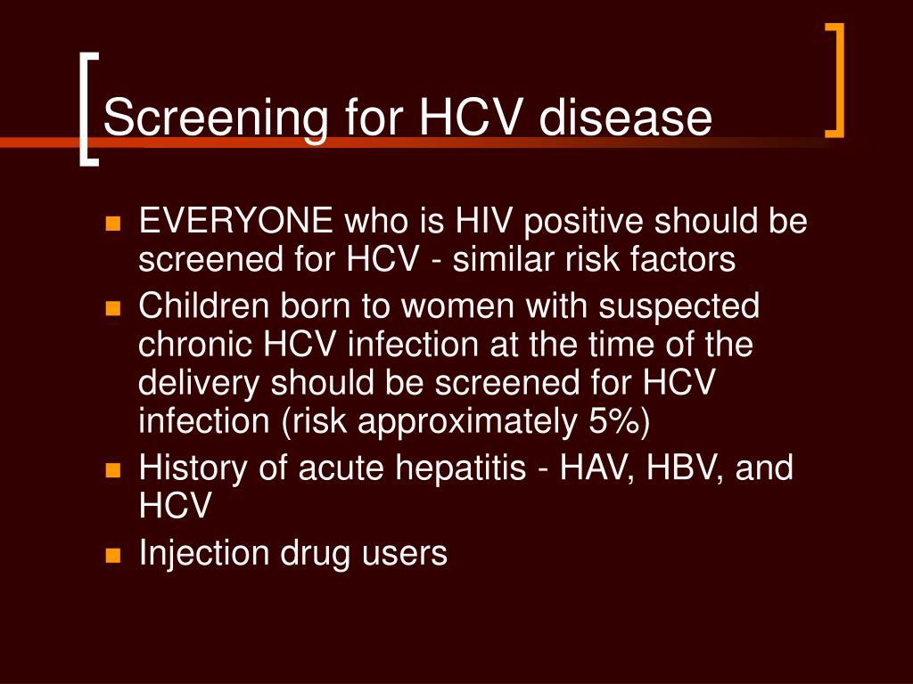 Screening for HCV disease