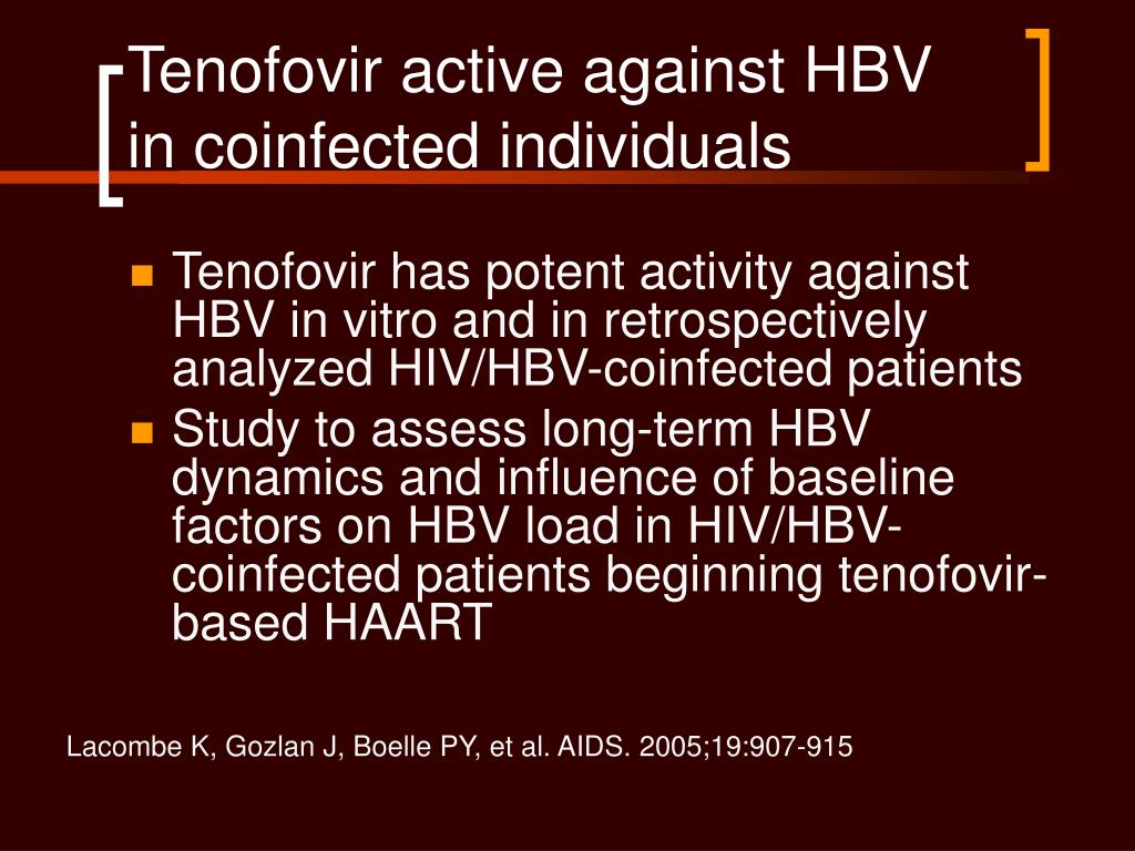 Tenofovir active against HBV in coinfected individuals
