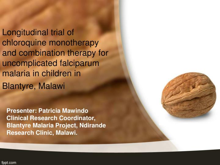 Longitudinal trial of chloroquine monotherapy and combination therapy for uncomplicated falciparum malaria in children in Blantyre, Malawi
