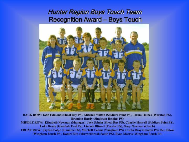 Hunter Region Boys Touch Team
