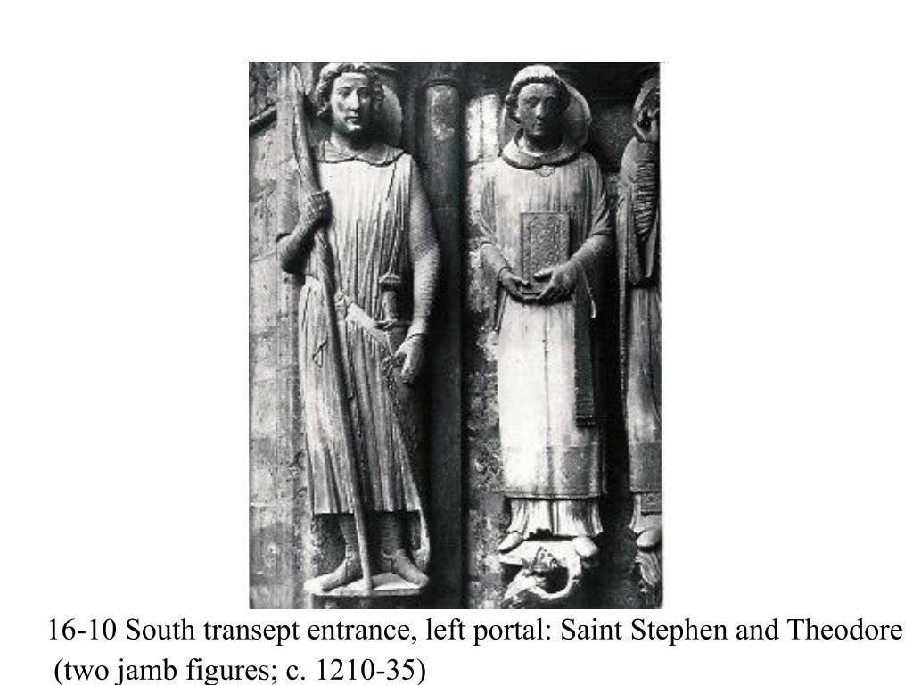 16-10 South transept entrance, left portal: Saint Stephen and Theodore