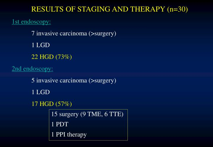 RESULTS OF STAGING AND THERAPY (n=30)