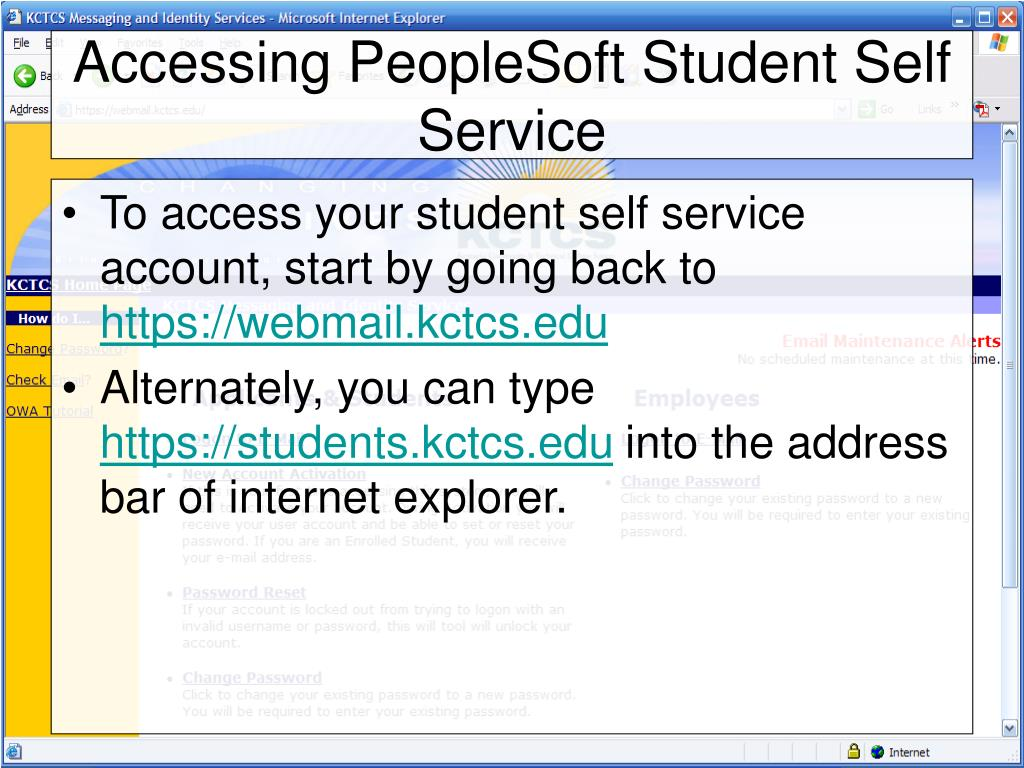 Accessing PeopleSoft Student Self Service