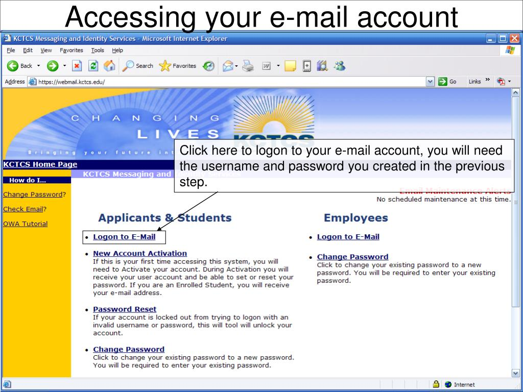 Accessing your e-mail account