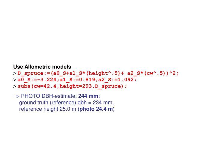 Use Allometric models
