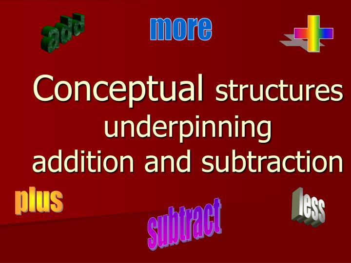 Conceptual structures underpinning addition and subtraction