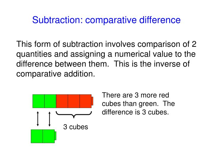 Subtraction: comparative difference