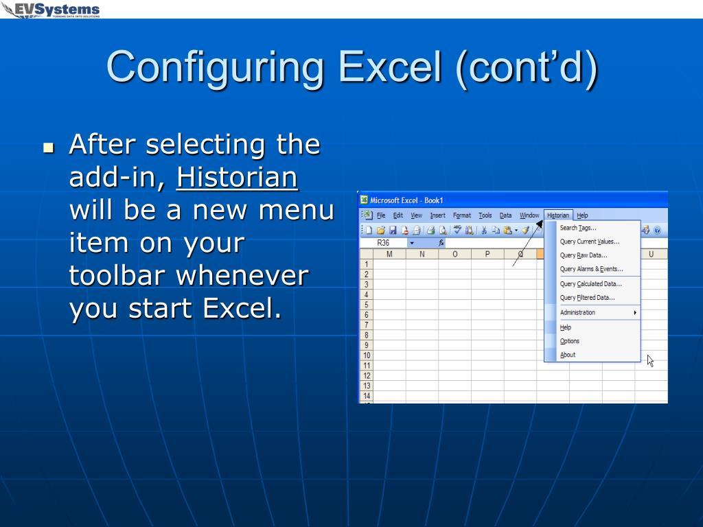 Configuring Excel (cont'd)