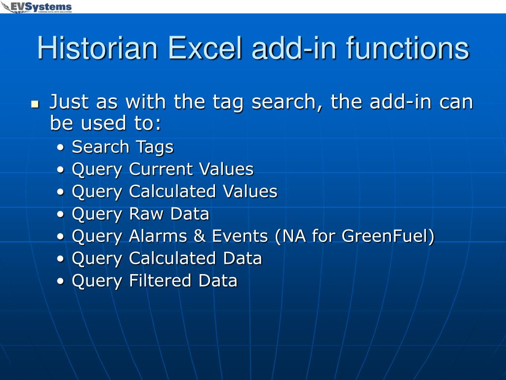 Historian Excel add-in functions
