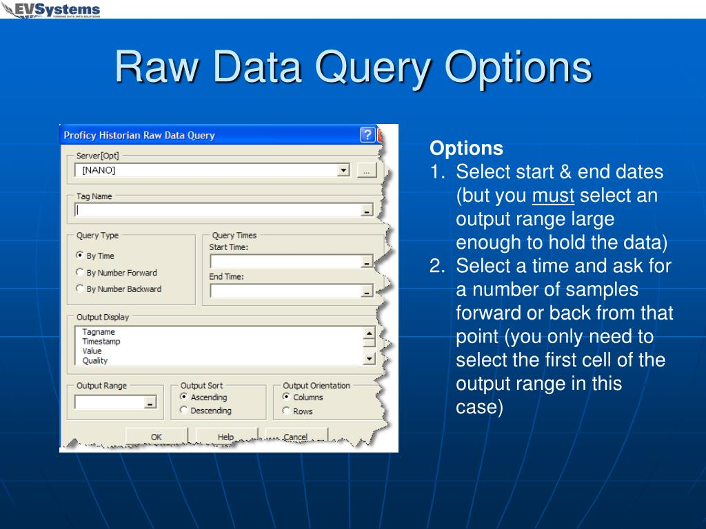 Raw Data Query Options