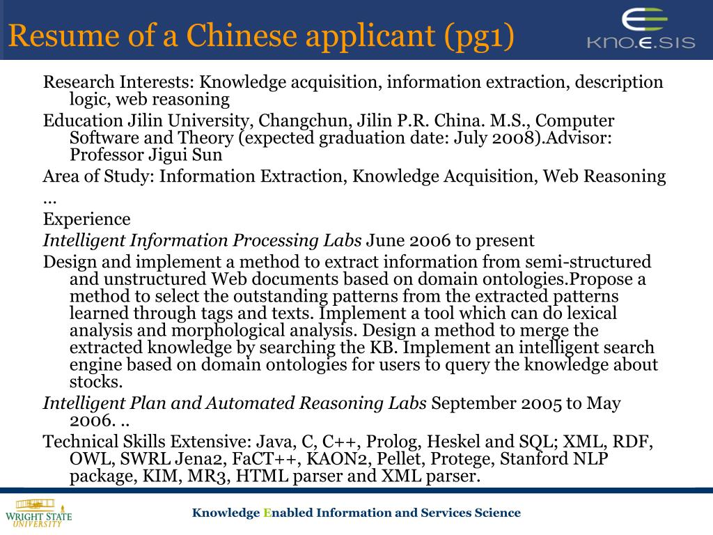 Resume of a Chinese applicant (pg1)