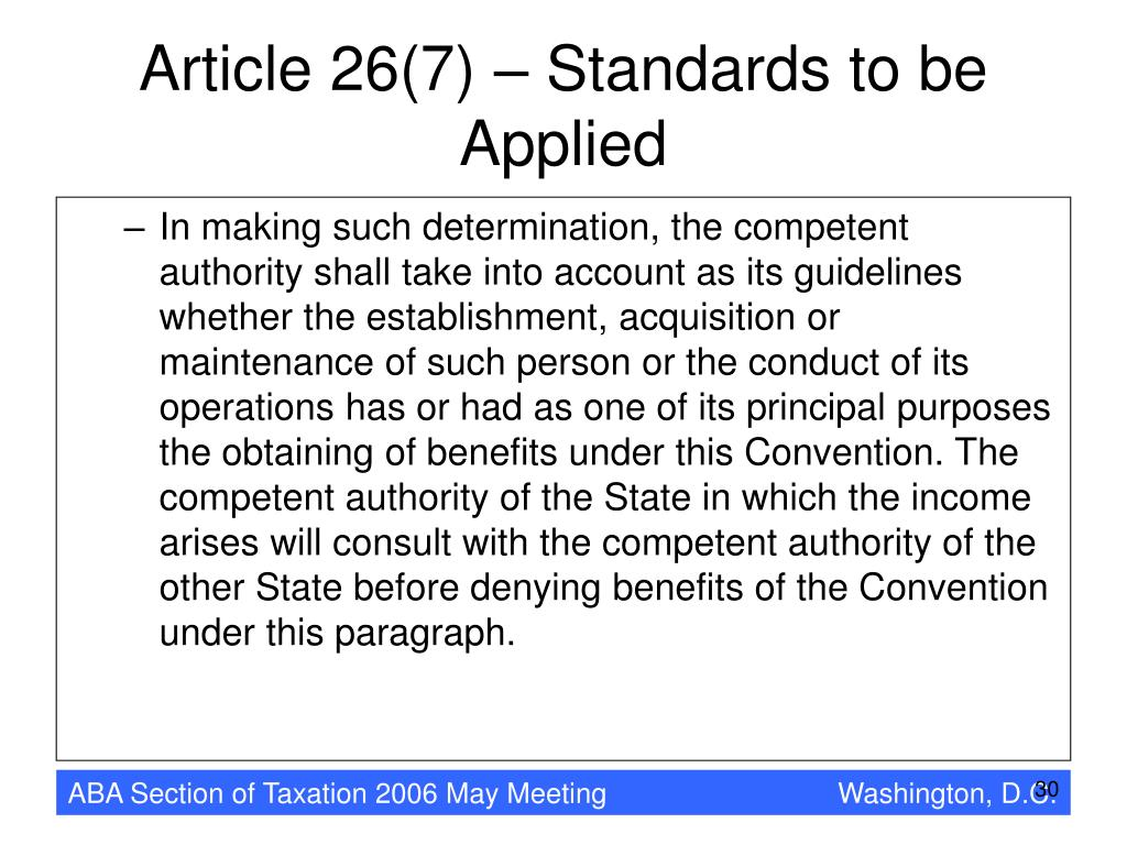 Article 26(7) – Standards to be Applied