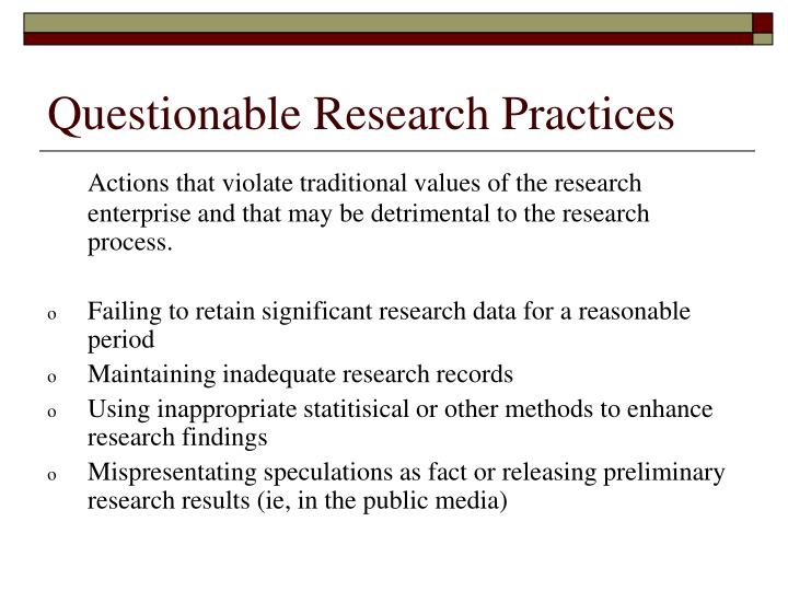 Questionable Research Practices