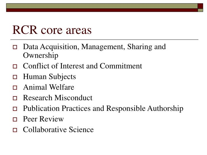 RCR core areas