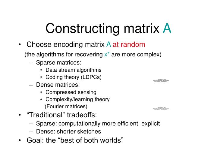 Constructing matrix