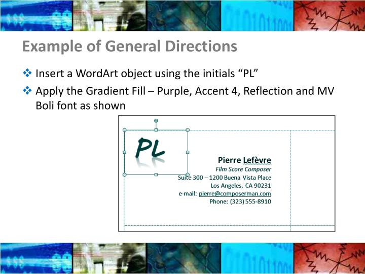 Example of General Directions