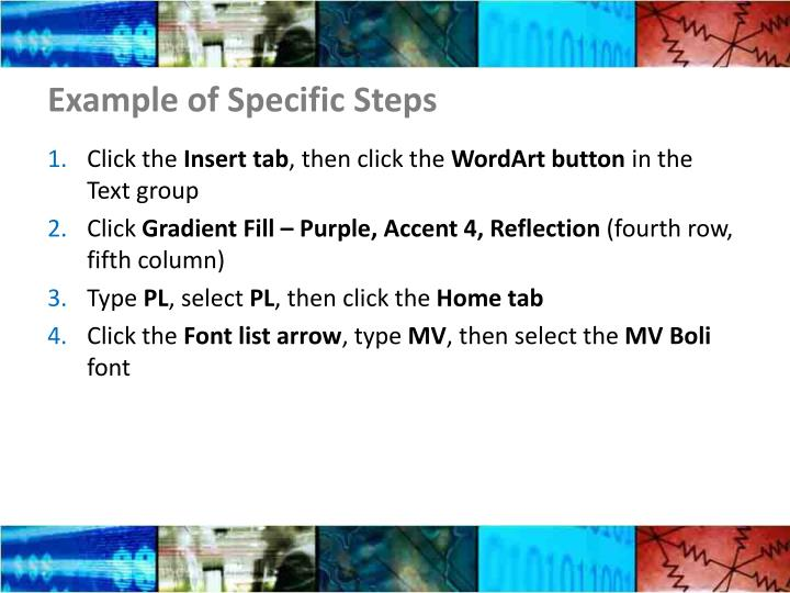 Example of Specific Steps
