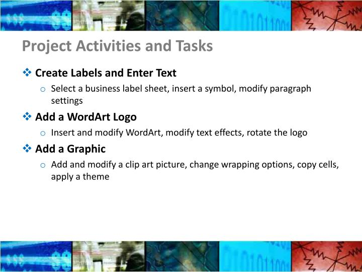 Project Activities and Tasks
