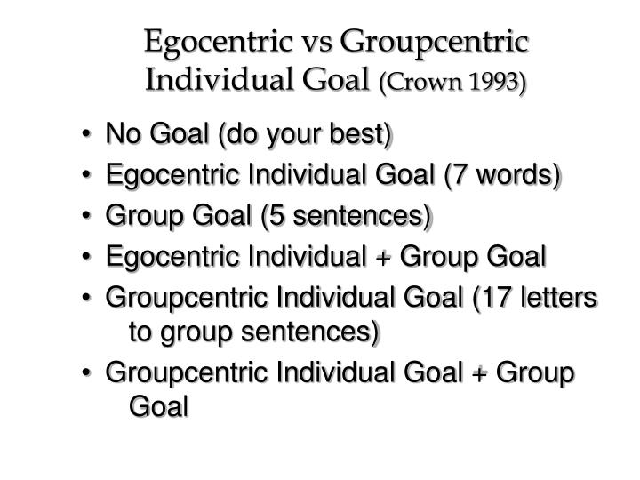 Egocentric vs Groupcentric Individual Goal