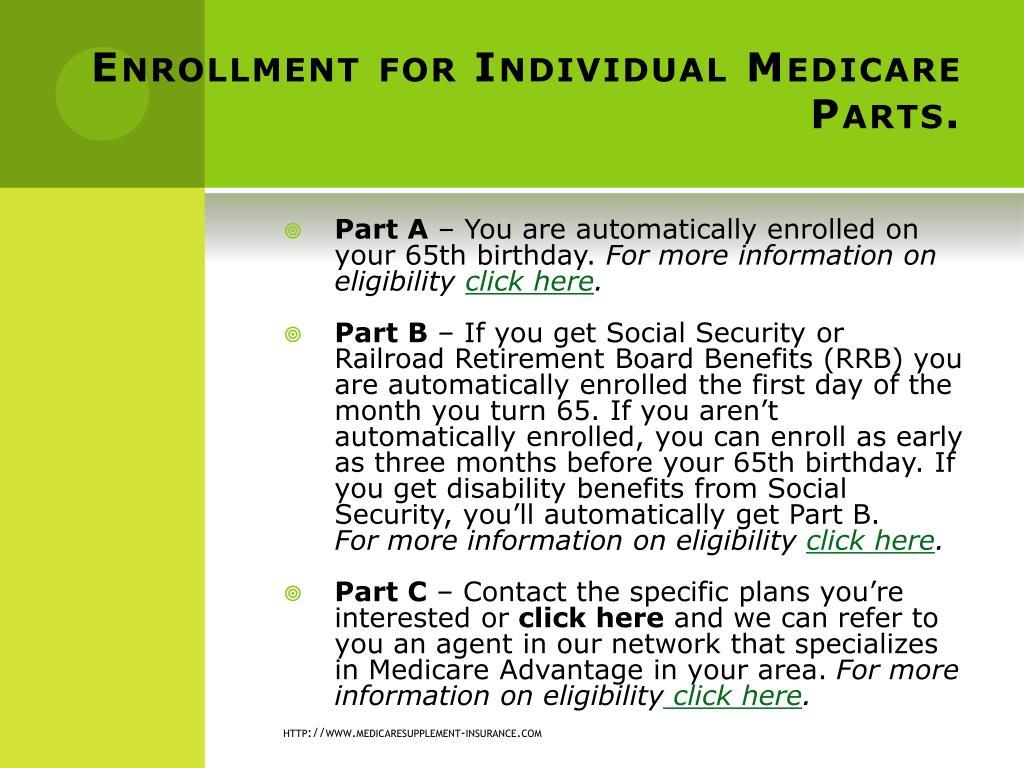 Enrollment for Individual Medicare Parts.