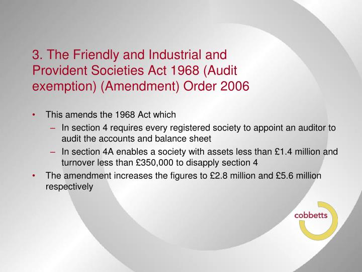 3. The Friendly and Industrial and Provident Societies Act 1968 (Audit exemption) (Amendment) Order 2006