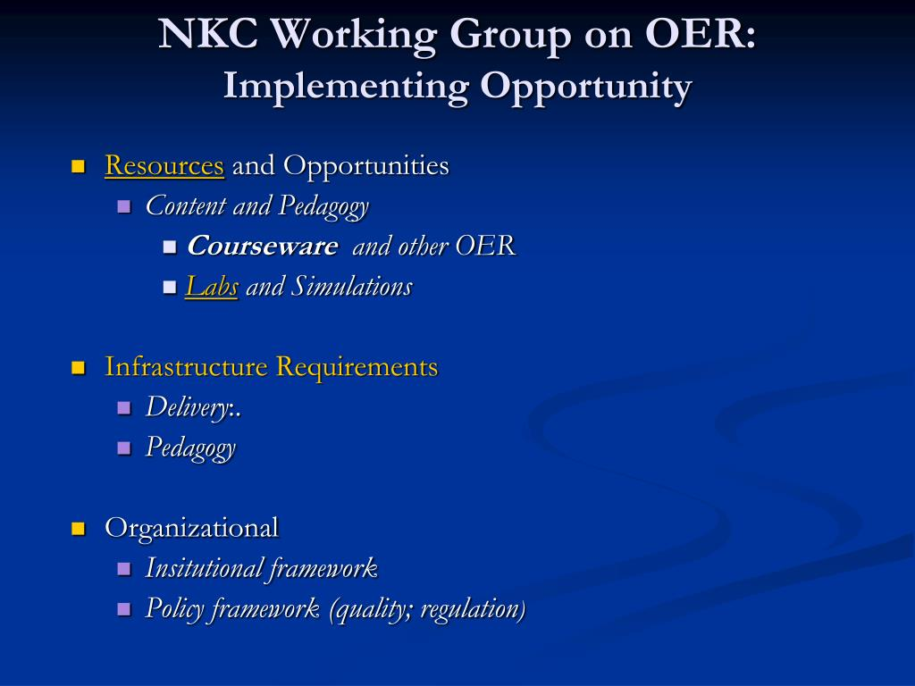 NKC Working Group on OER:
