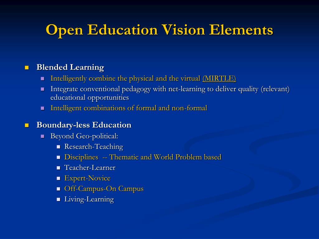Open Education Vision Elements
