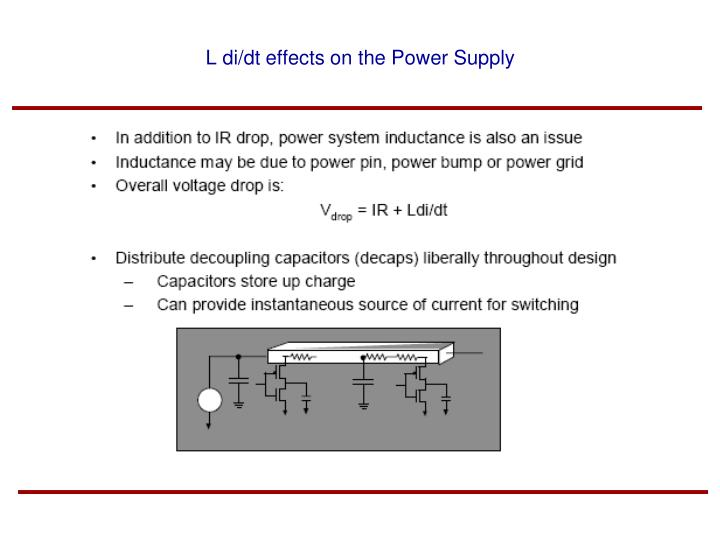 L di/dt effects on the Power Supply