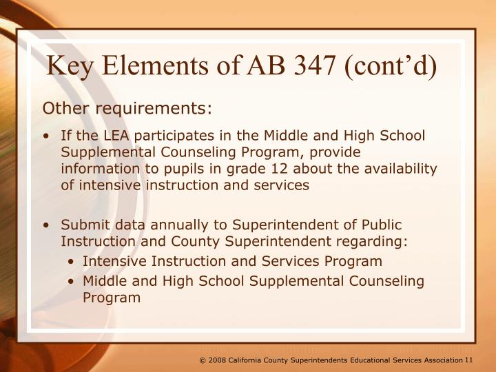 Key Elements of AB 347 (cont'd)