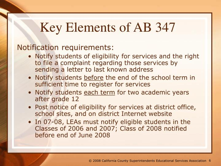 Key Elements of AB 347