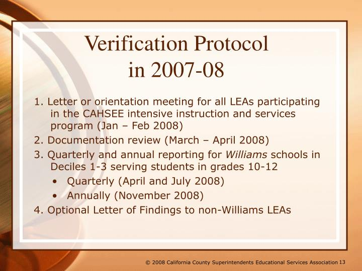 Verification Protocol