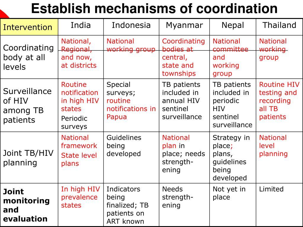 Establish mechanisms of coordination