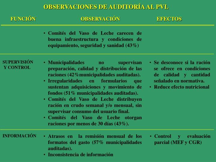 OBSERVACIONES DE AUDITORÍA AL PVL