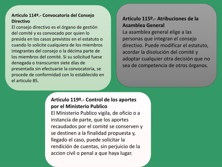 Articulo 115º.- Atribuciones de la Asamblea General